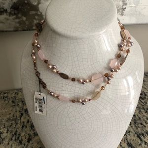 Long necklace, blush, brown, gold, summer